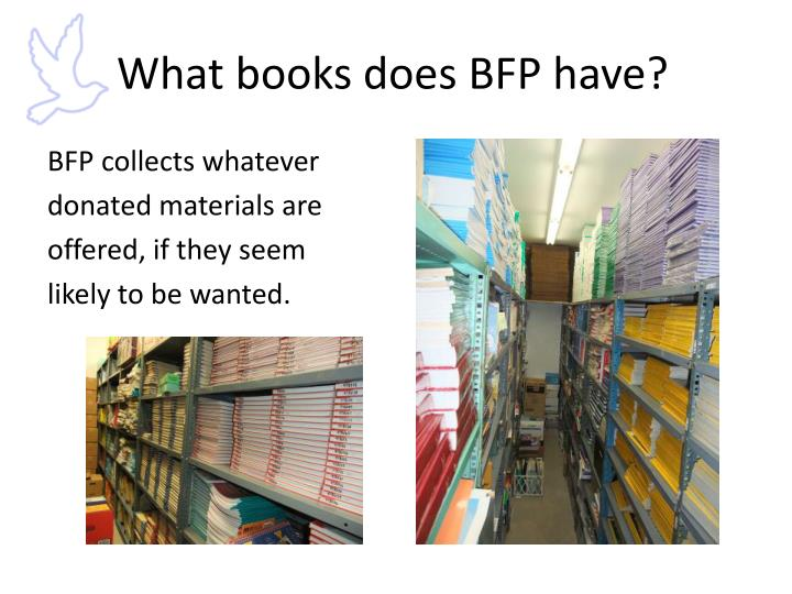 What books does BFP have?