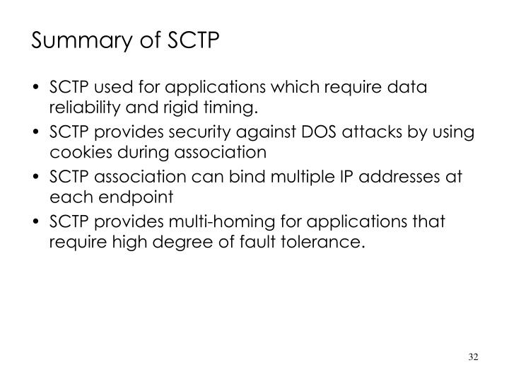Summary of SCTP