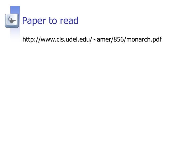 Paper to read