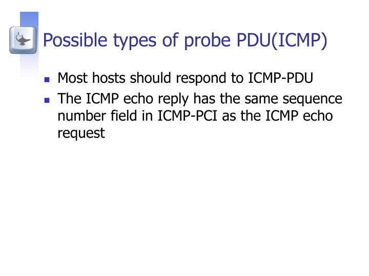 Possible types of probe PDU(ICMP)