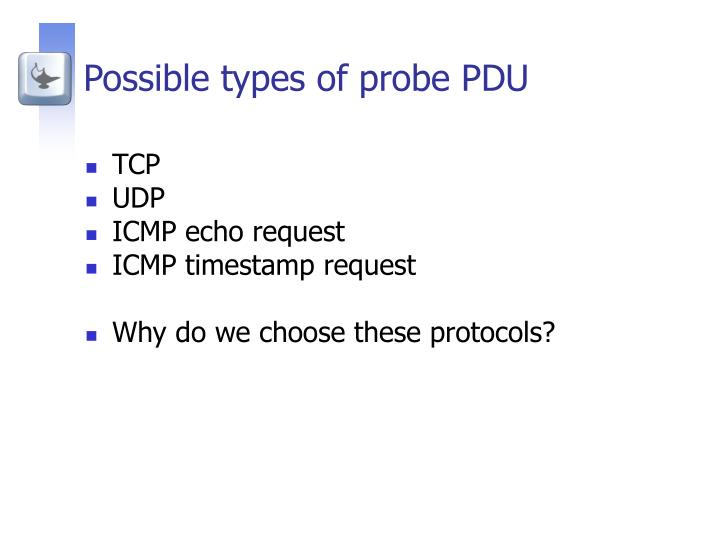 Possible types of probe PDU