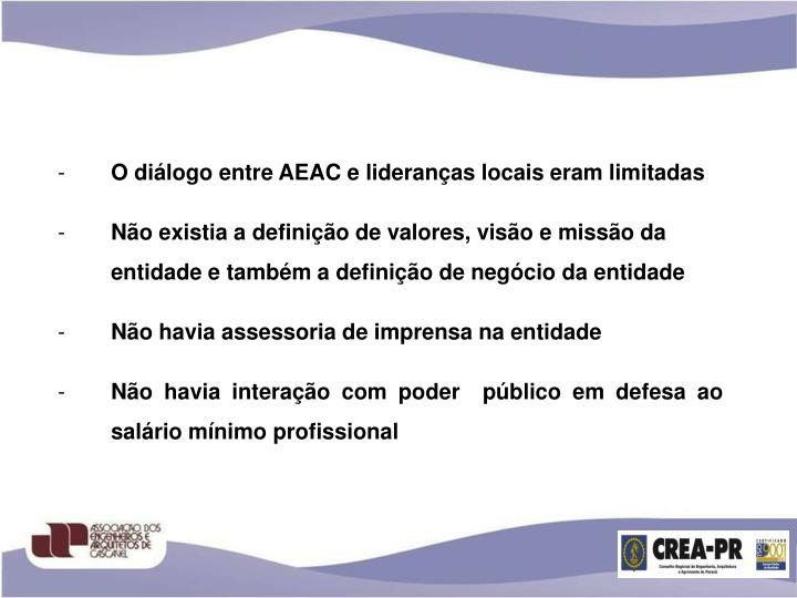 O diálogo entre AEAC e lideranças locais eram limitadas