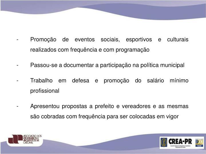Promoção de eventos sociais, esportivos e culturais realizados com frequência e com programação