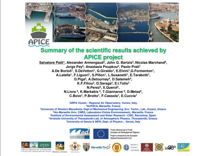 Summary of the scientific results achieved by