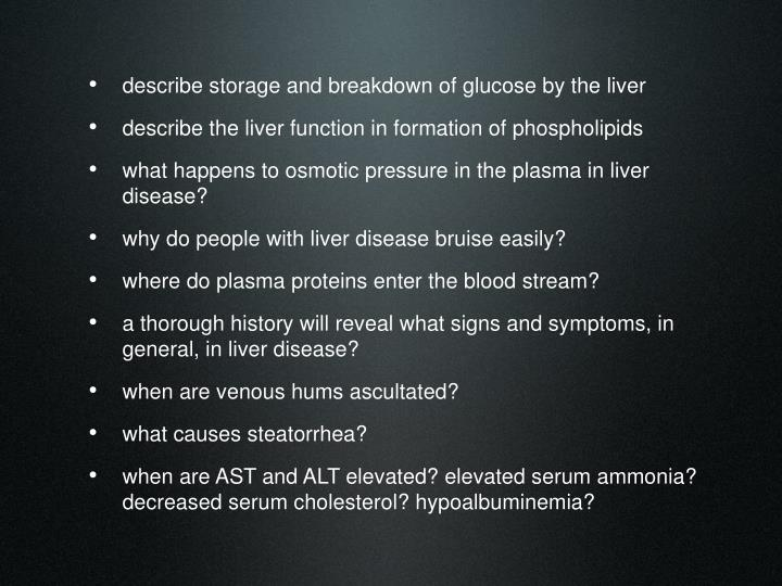 describe storage and breakdown of glucose by the liver