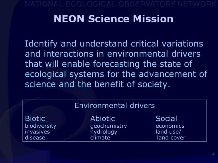 NEON Science Mission