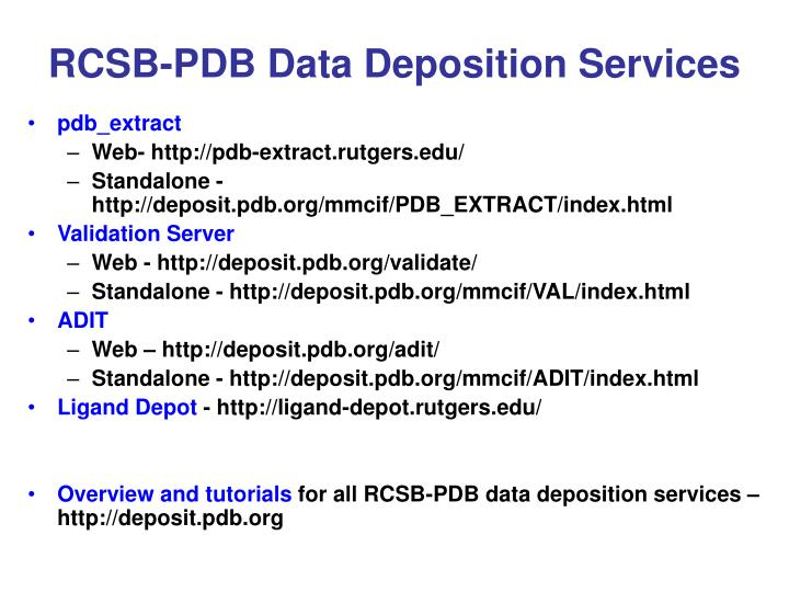RCSB-PDB Data Deposition Services