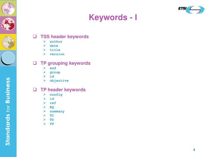 Keywords - I