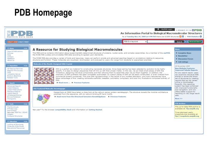 PDB Homepage
