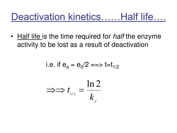 Deactivation kinetics……Half life….