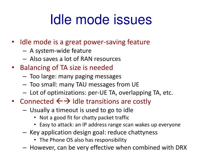 Idle mode issues
