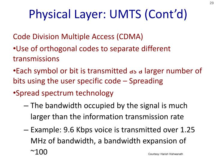 Physical Layer: UMTS (Cont