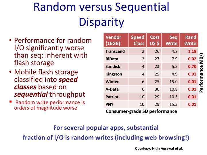 Random versus Sequential Disparity