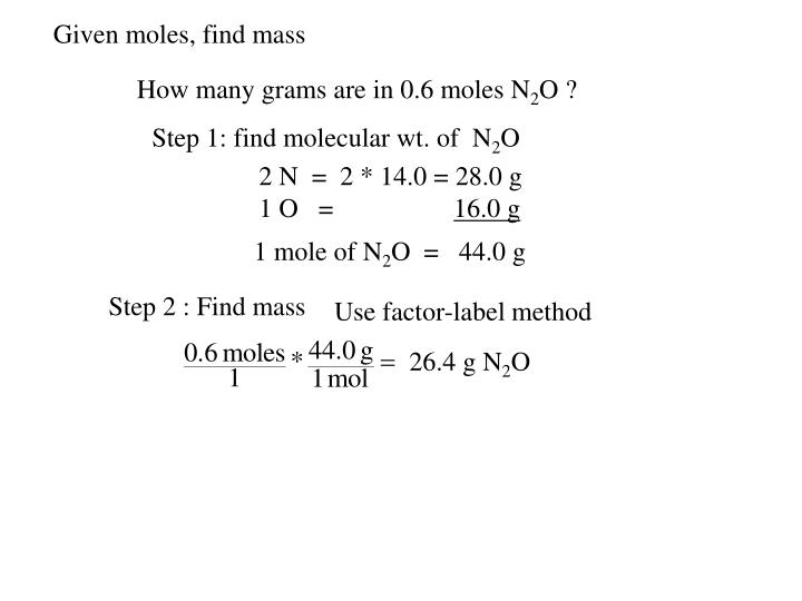 Given moles, find mass