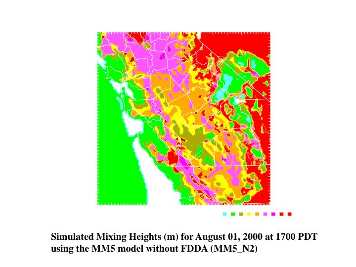 Simulated Mixing Heights (m) for August 01, 2000 at 1700 PDT