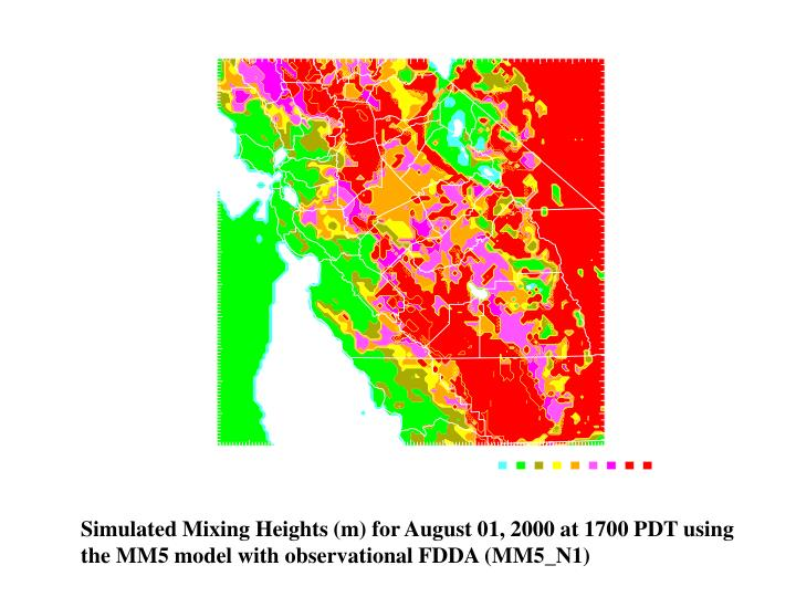 Simulated Mixing Heights (m) for August 01, 2000 at 1700 PDT using