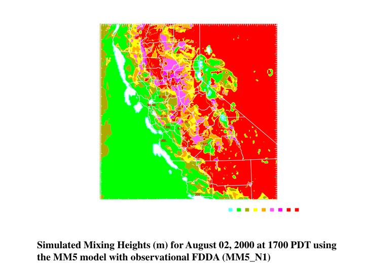 Simulated Mixing Heights (m) for August 02, 2000 at 1700 PDT using