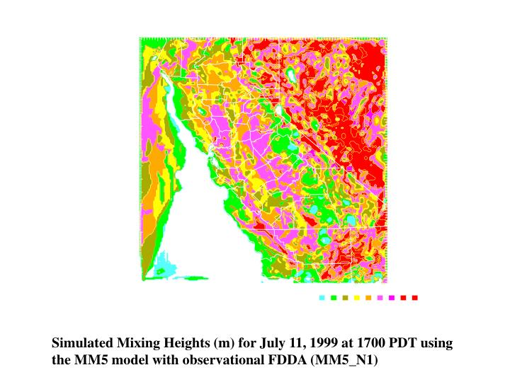 Simulated Mixing Heights (m) for July 11, 1999 at 1700 PDT using