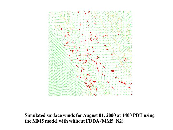 Simulated surface winds for August 01, 2000 at 1400 PDT using