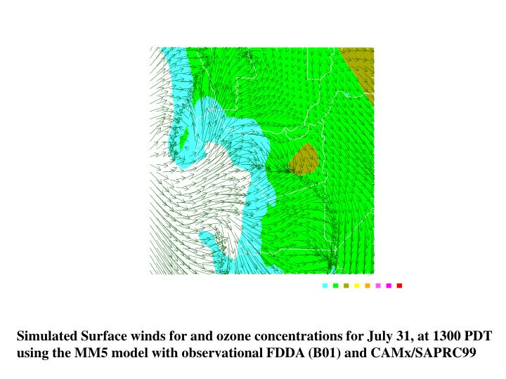 Simulated Surface winds for and ozone concentrations for July 31, at 1300 PDT