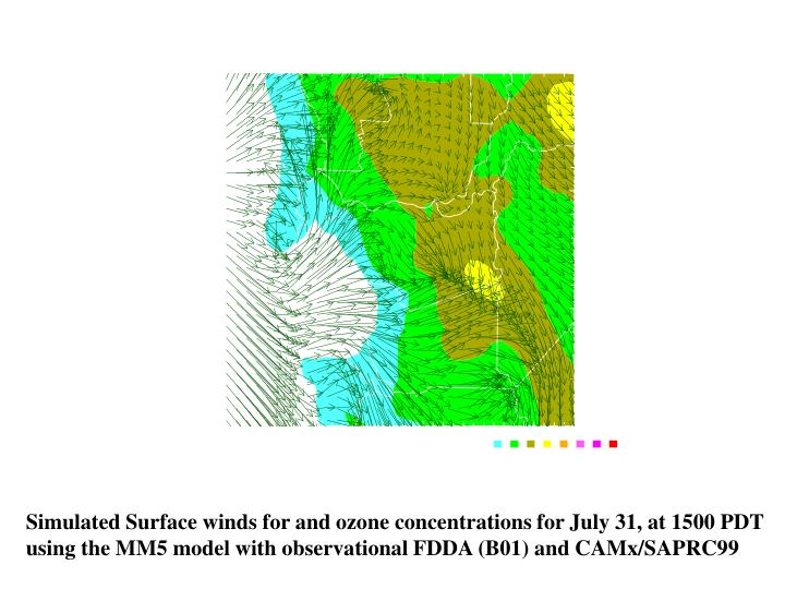 Simulated Surface winds for and ozone concentrations for July 31, at 1500 PDT