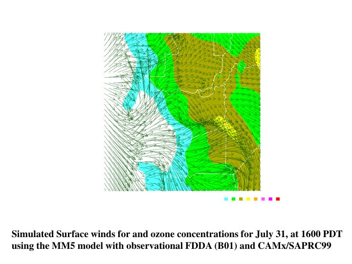 Simulated Surface winds for and ozone concentrations for July 31, at 1600 PDT