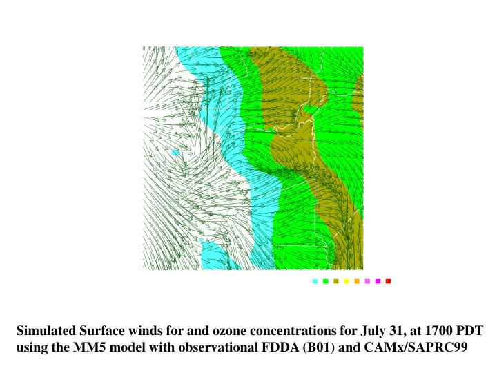 Simulated Surface winds for and ozone concentrations for July 31, at 1700 PDT
