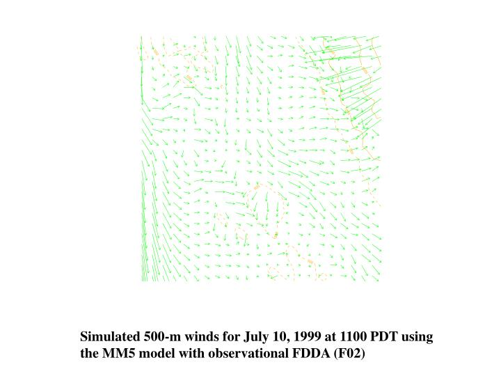 Simulated 500-m winds for July 10, 1999 at 1100 PDT using