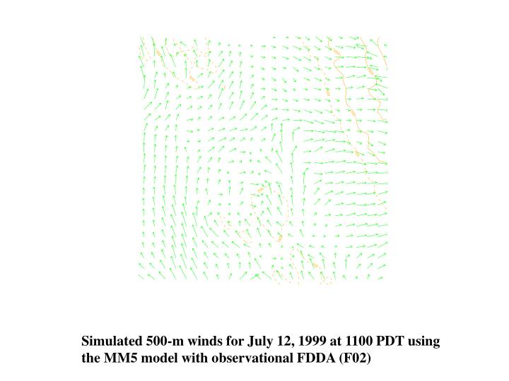 Simulated 500-m winds for July 12, 1999 at 1100 PDT using
