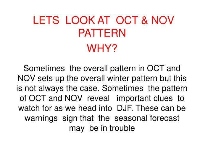 LETS  LOOK AT  OCT & NOV  PATTERN
