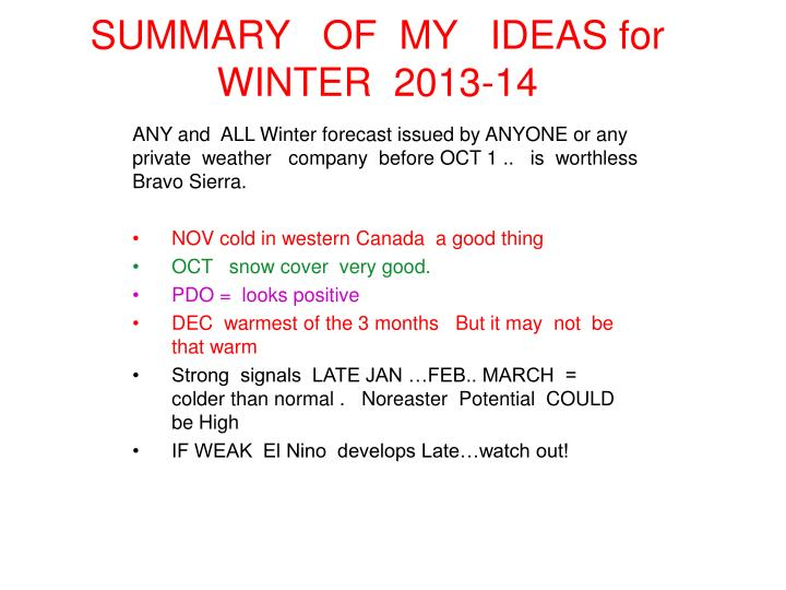SUMMARY   OF  MY   IDEAS for WINTER  2013-14