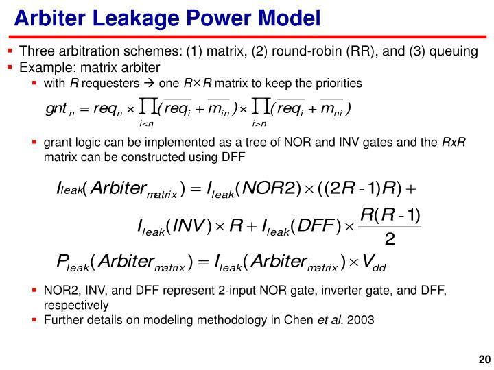 Arbiter Leakage Power Model