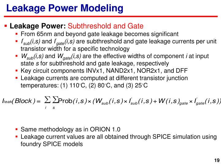 Leakage Power Modeling