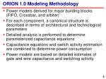 orion 1 0 modeling methodology