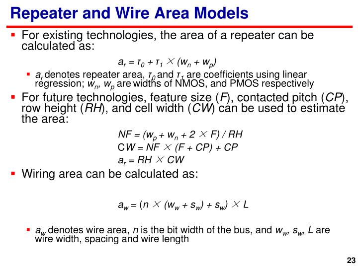 Repeater and Wire Area Models