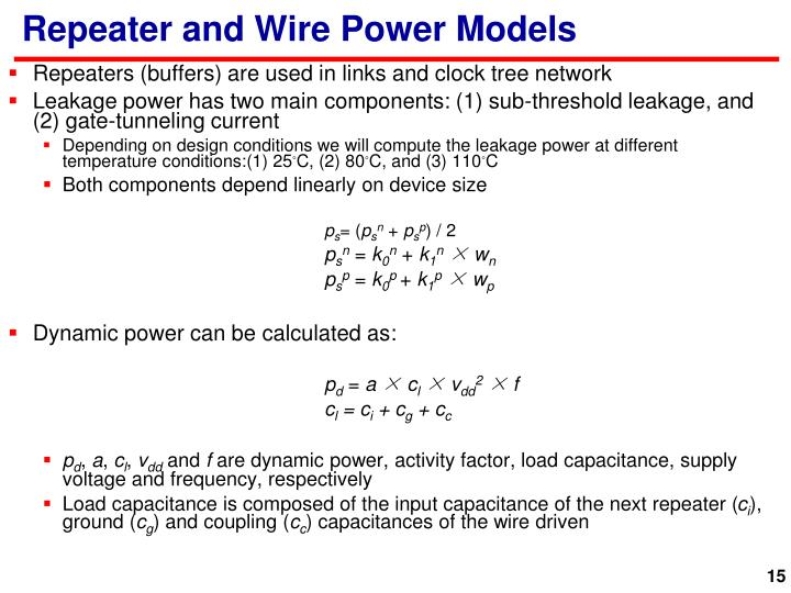 Repeater and Wire Power Models
