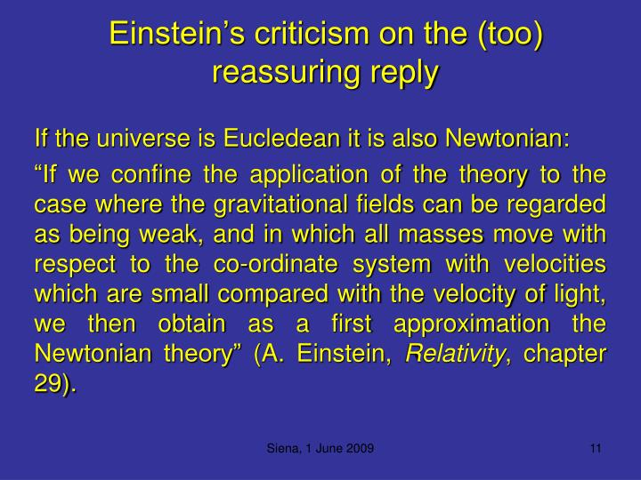 Einstein's criticism on the (too) reassuring reply