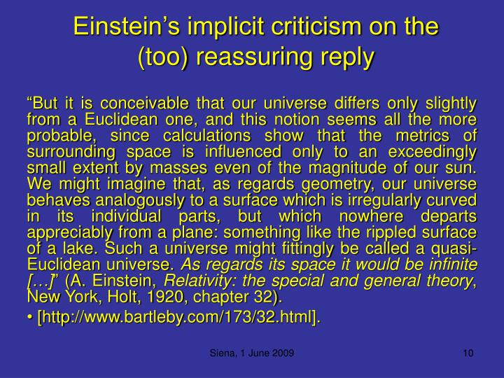 Einstein's implicit criticism on the (too) reassuring reply