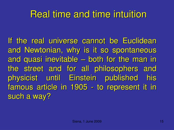 Real time and time intuition