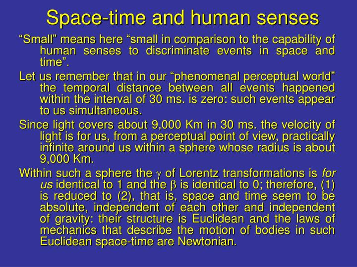 Space-time and human senses