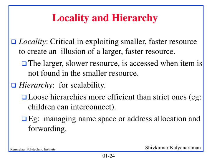 Locality and Hierarchy