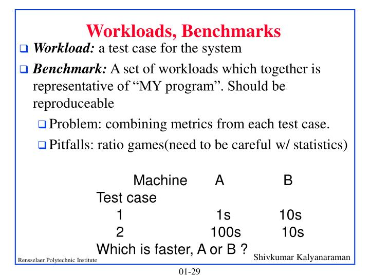 Workloads, Benchmarks