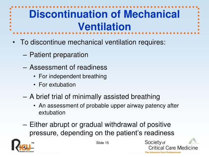 Discontinuation of Mechanical Ventilation