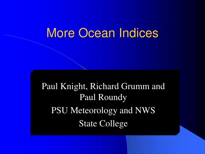 More ocean indices