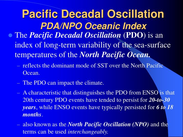 Pacific decadal oscillation pda npo oceanic index