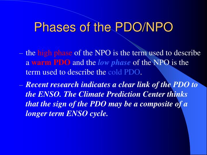 Phases of the pdo npo