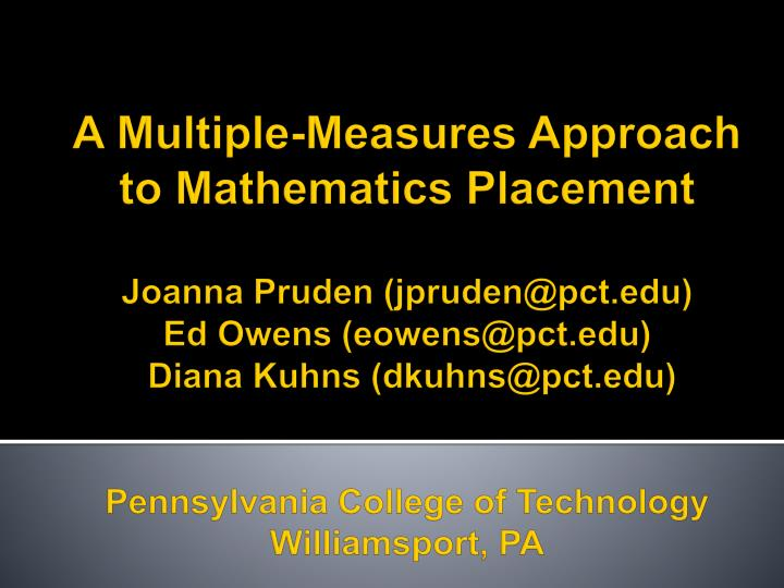 A Multiple-Measures Approach to Mathematics Placement