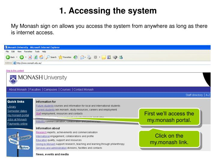 1. Accessing the system