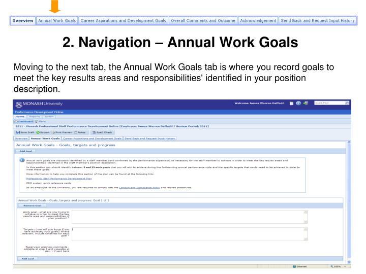 2. Navigation – Annual Work Goals