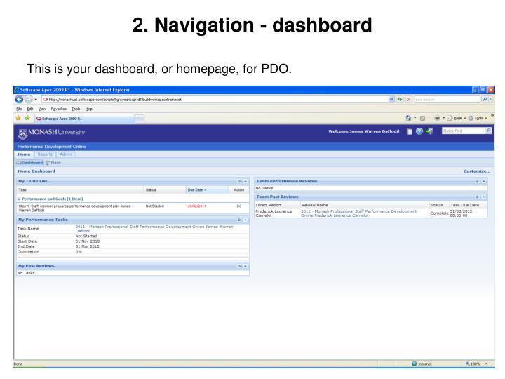 2. Navigation - dashboard